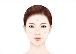 STEP1 - Pump the product 2~3 times onto your hand, then apply roughly equal amounts of the product across your face (cheeks → forehead → nose → chin).