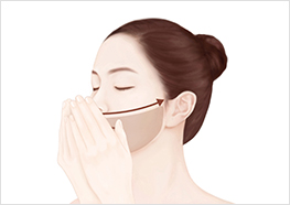 STEP3 - Cup your hands together in front of your face with your fingers covering the outside of your nose. Breathe the fragrance in for 3 seconds, then pat your chin/mouth area gently to massage the Serum into your skin.