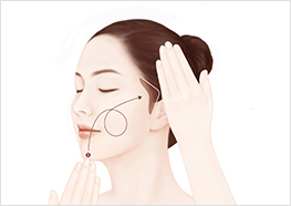 STEP2 - Use one hand to lift up your chin and cheek on one side toward your ear, while using the other hand to massage the formula into the same chin and cheek.