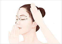STEP3 - Use one hand to pull the outer edge of your eye toward your temple area, while using the other hand to massage the formula into your eye area, nose, and forehead.