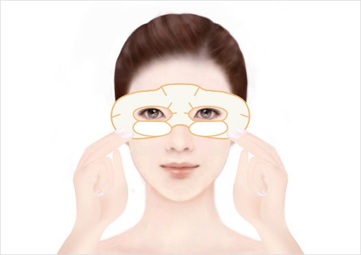 STEP2 - Hold the Eye Mask on both ends with your fingers, carefully align your eyes and nose with the Eye Mask, then place the mask on your face to fit around your eyes.