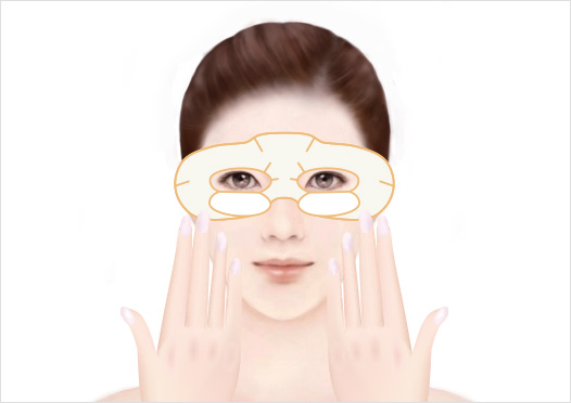 STEP3 - Gently press the Eye Mask from the inside (near your nose) to the outside of your face to ensure a secure fit.